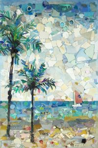 """""""Beautiful Beach"""", a mixed media: plastic, shells on painted canvas."""